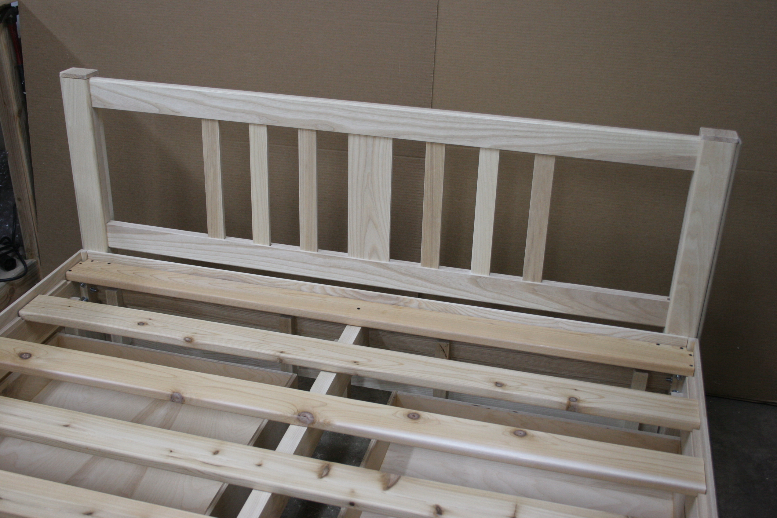 Unfinished ash wide-slat headboard