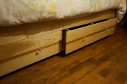 Ash w/ deep drawers with dividers, curly cherry stripe, and shelf
