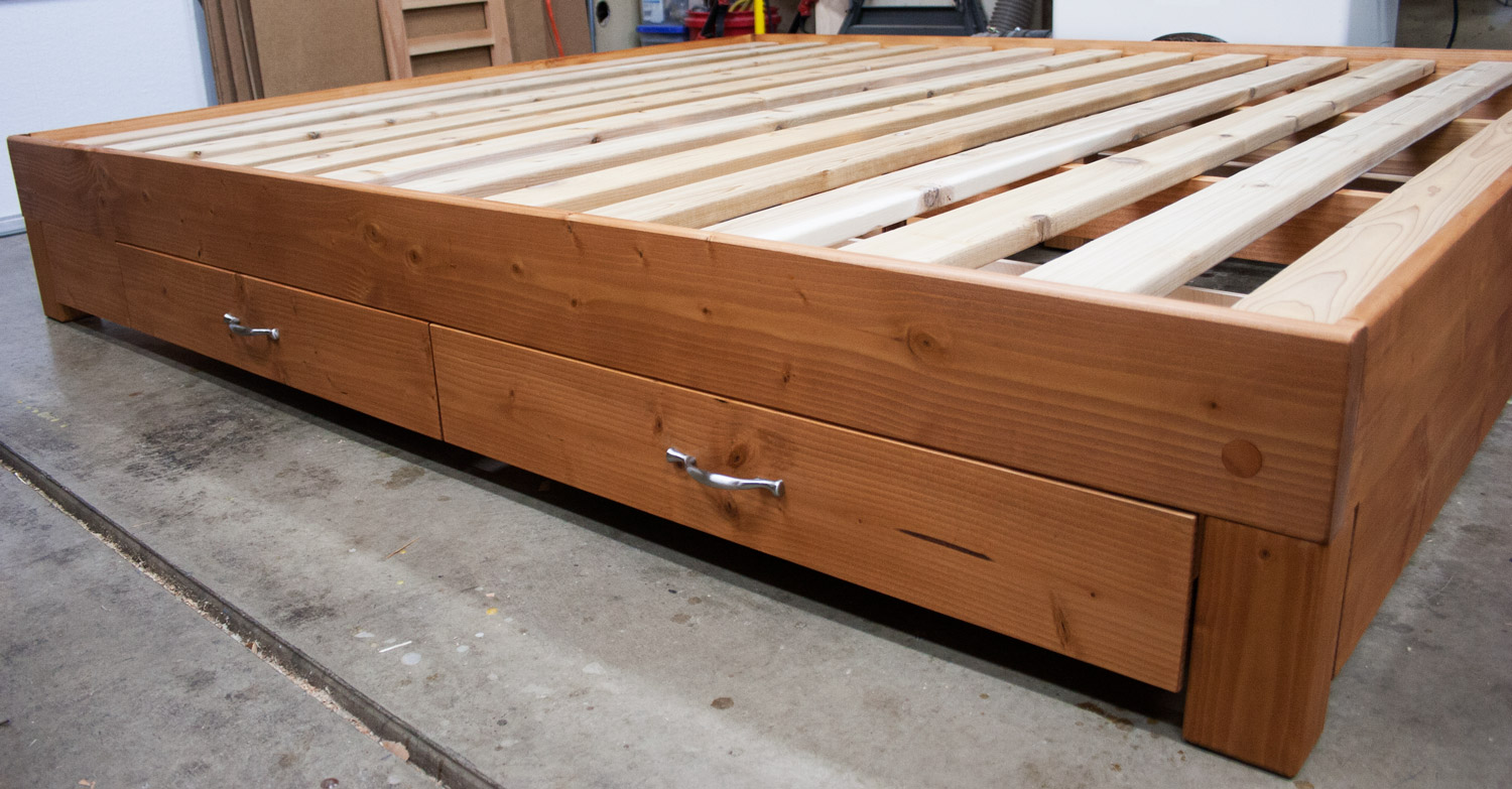 King w/ finish, drawers, night stand spacers