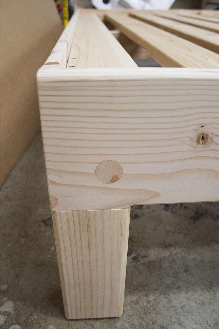 Fir frame bolt hole plug closeup