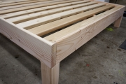 Fir frame with 15 slats and bolt hole plugs