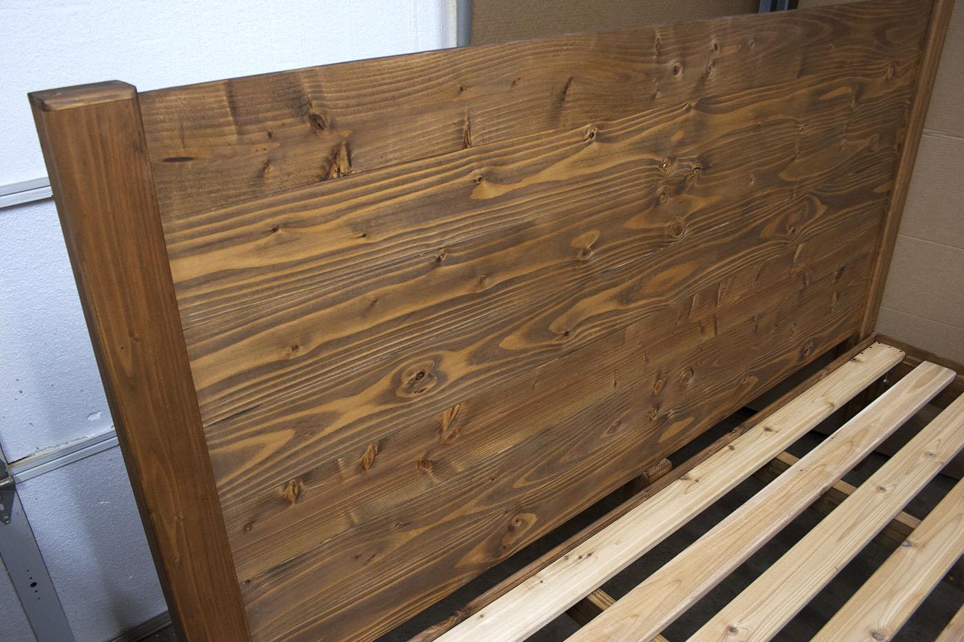 Panel-style headboard w/ darkening solution, shellac