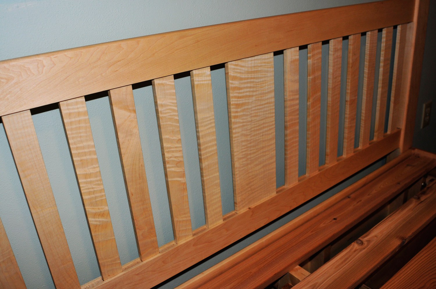 Curly maple slats on headboard