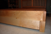 Maple queen w/ vertical-slat headboard w/ curly maple slats