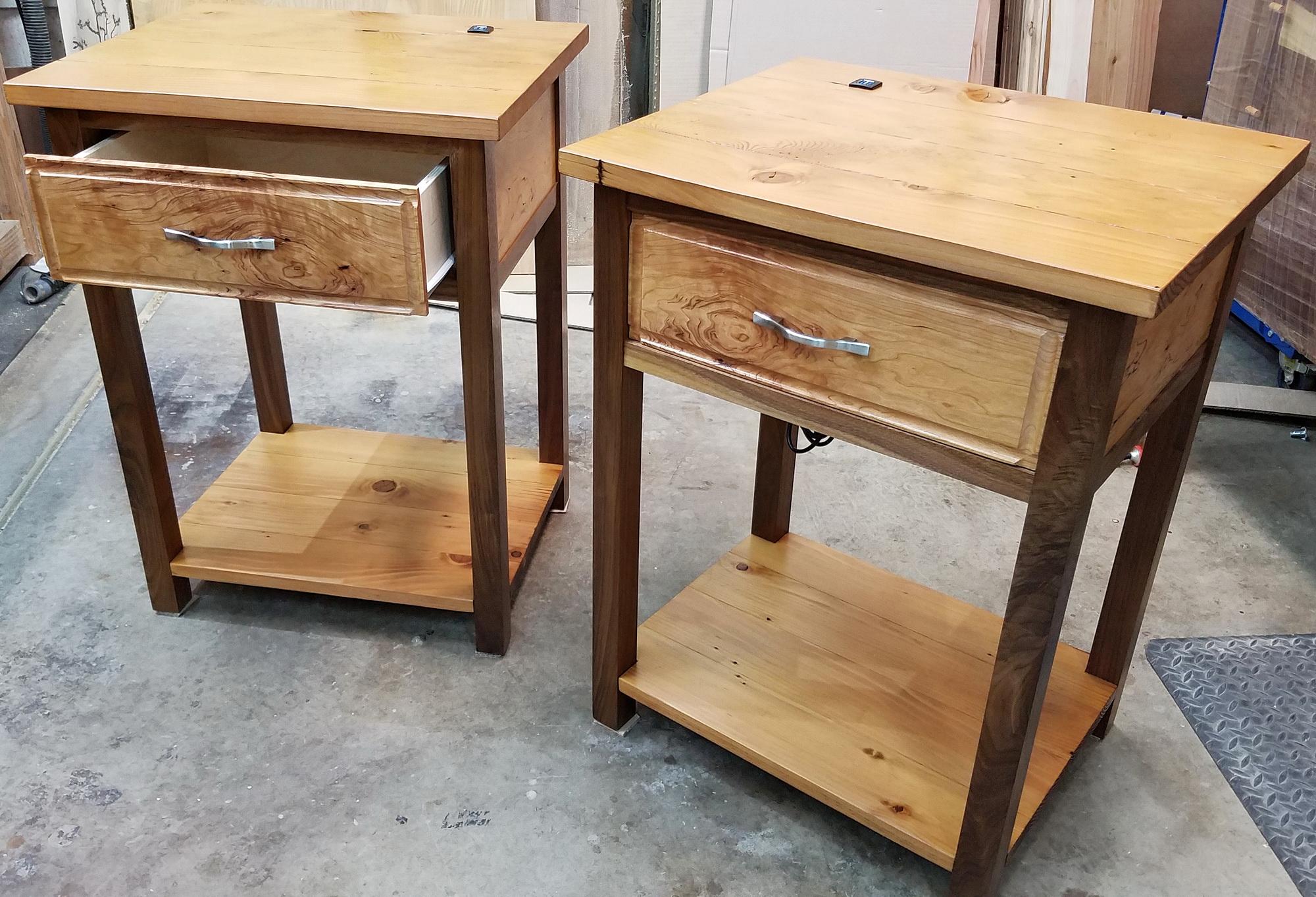 Walnut/fir nightstands