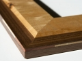 Curly maple and walnut with dual-wood corner splines corner