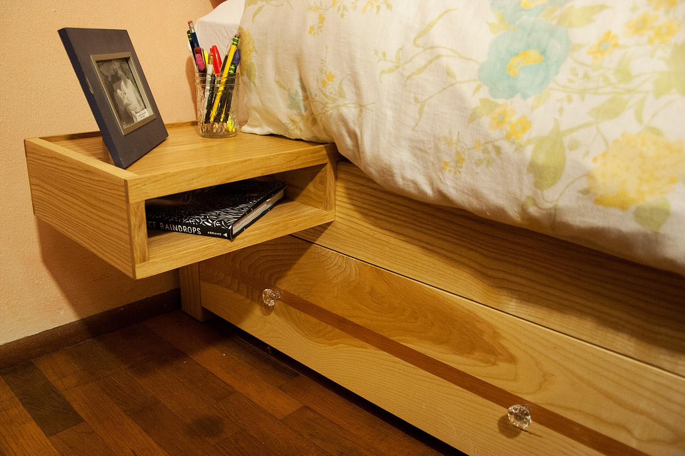 Ash add-on shelf on ash/curly cherry frame