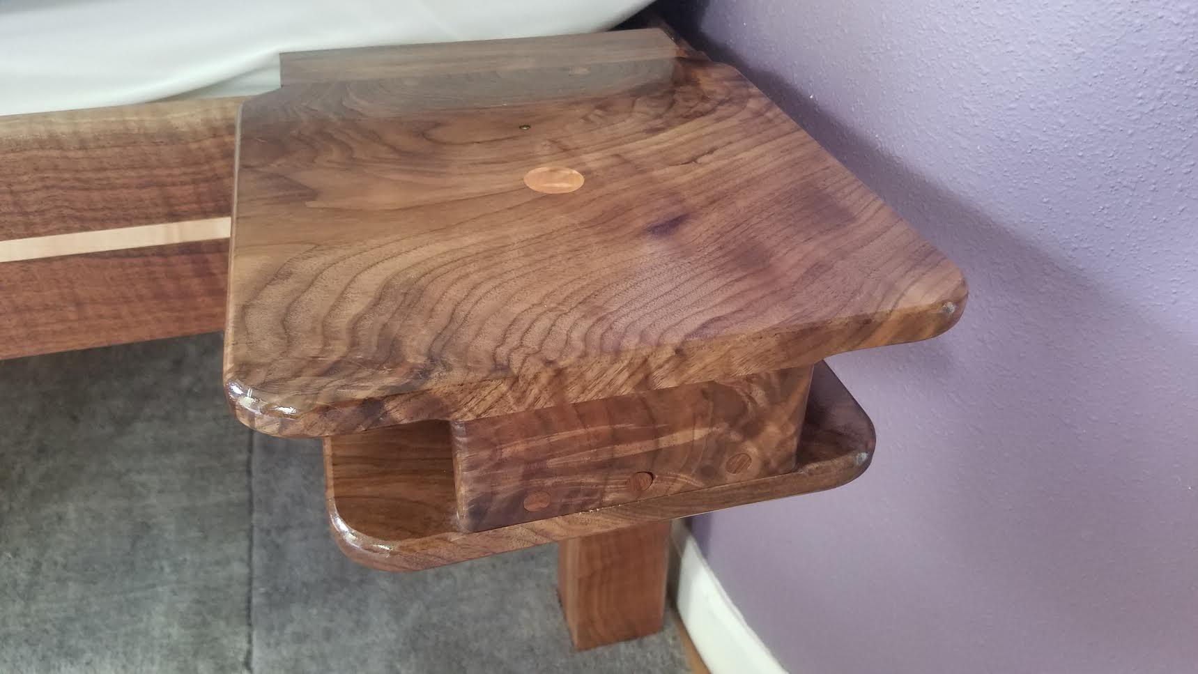 Clip-on walnut shelf