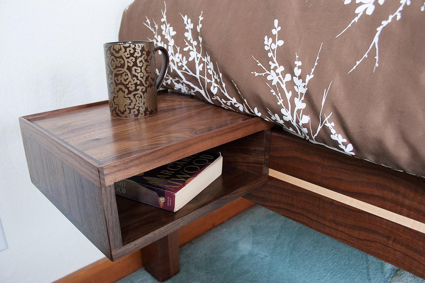 Solid walnut add-on shelf on walnut/curly maple frame