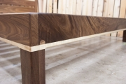 Walnut & curly maple w/ headboard corner detail