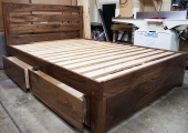 Walnut tall drawers and headboard